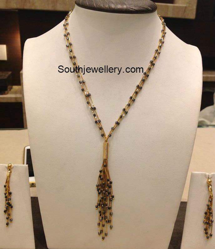 light weight black beads chains jewellery designs
