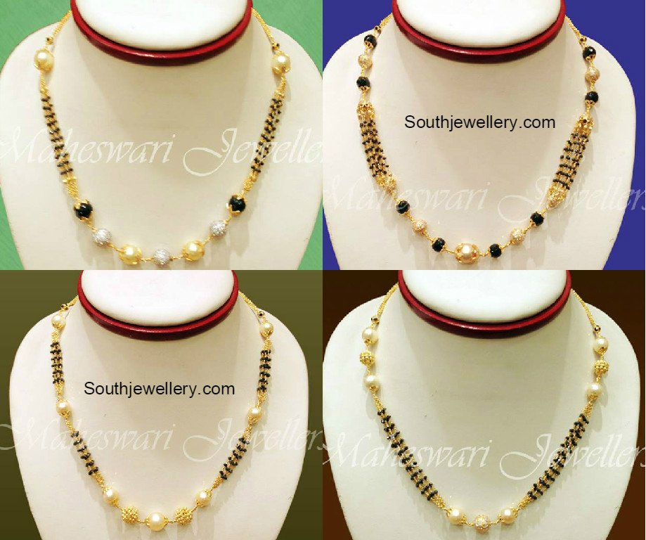 Diamond kasulaperu with pendant - Black Diamonds Short Mangalsutra Jewellery Designs
