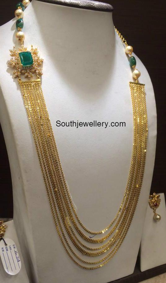 Chandraharam With Diamond Side Pendant Jewellery Designs