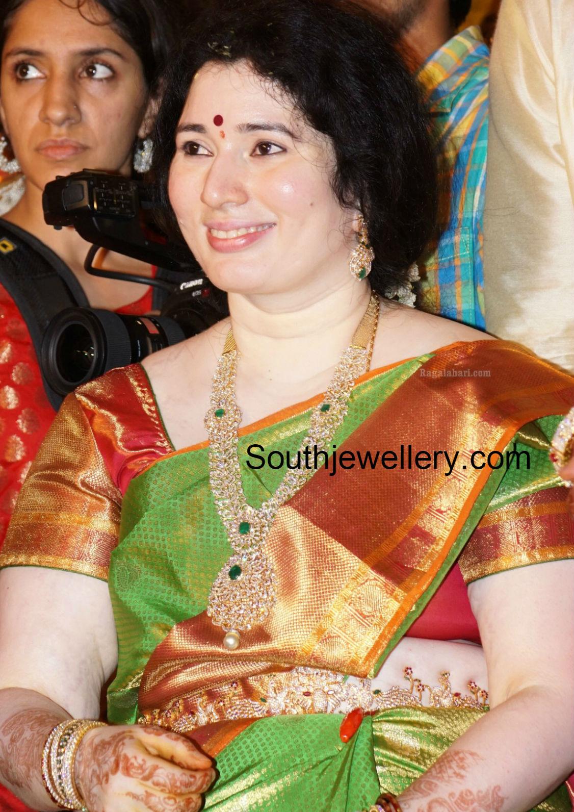 Suhasini in gundla haram jewellery designs - Danam Nagender Wife In Diamond Jewelry