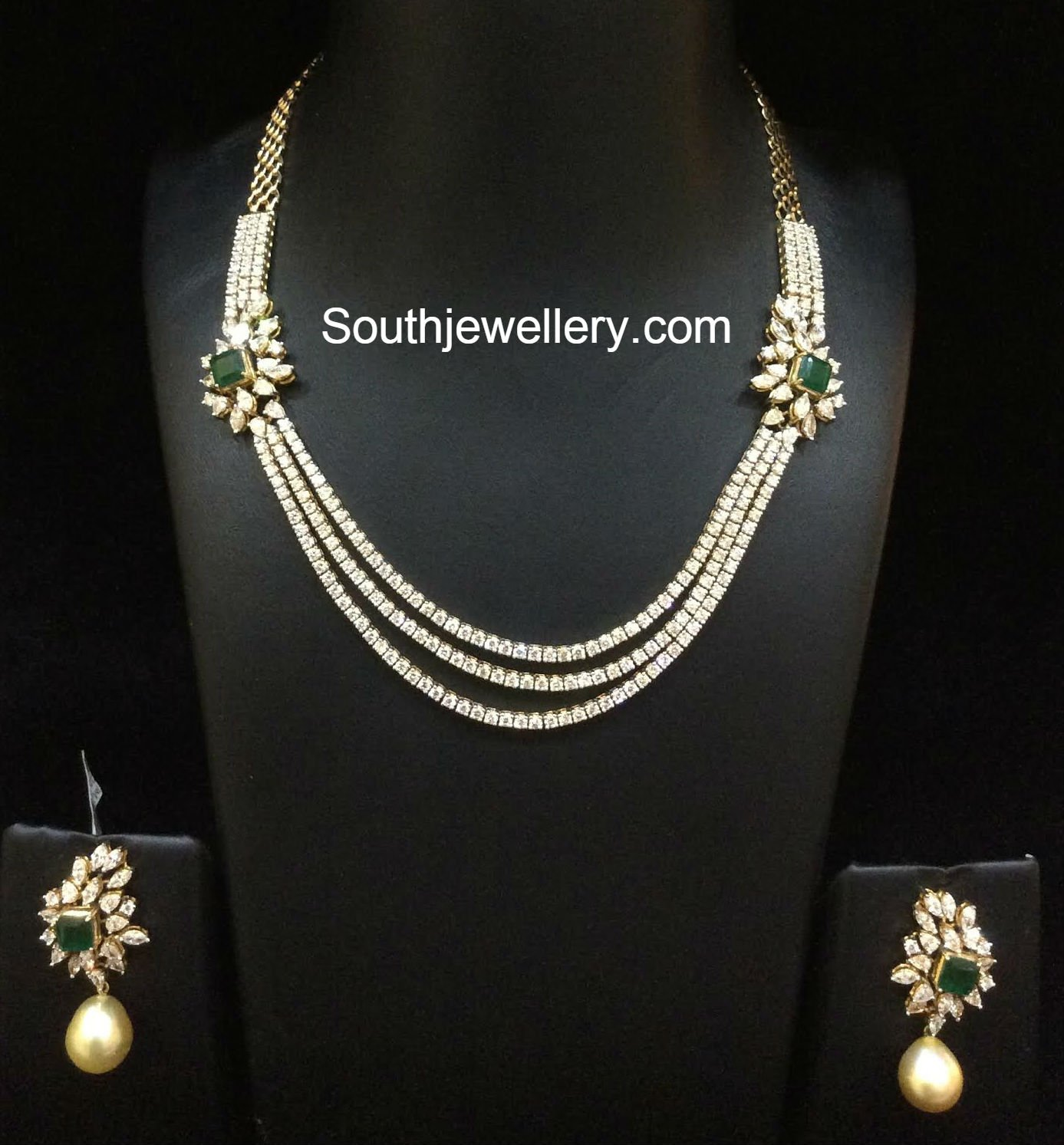 3 simple and elegant diamond necklace sets jewellery designs