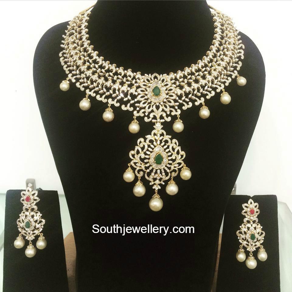 Suhasini in gundla haram jewellery designs - Beautiful Diamond Necklace Set