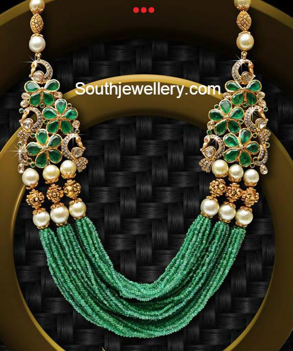 Multistring Emerald Beads Mala Jewellery Designs
