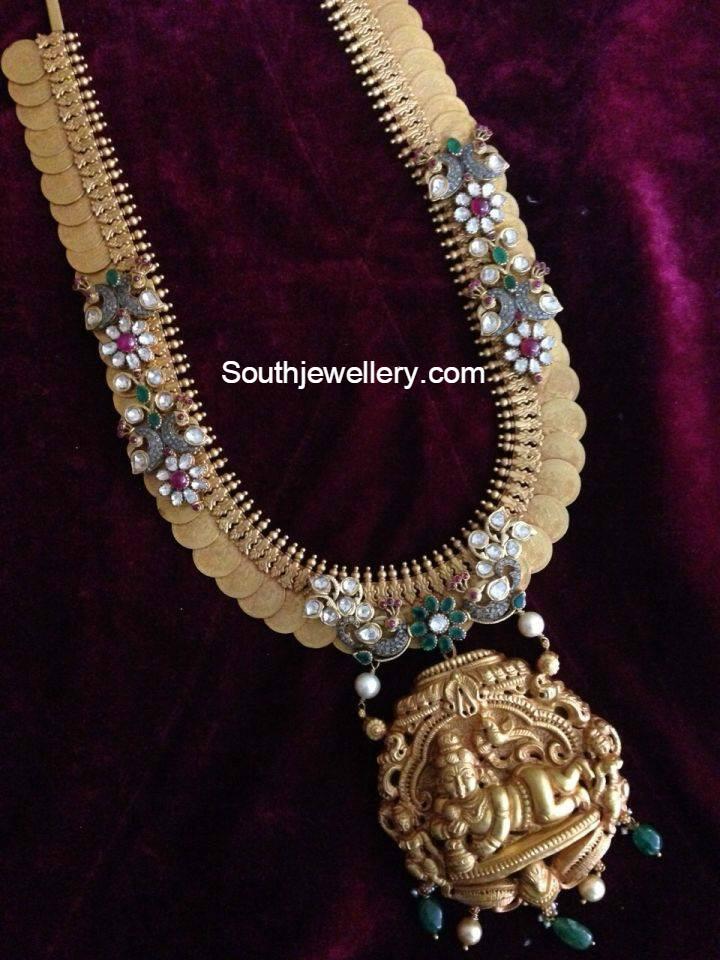 unique kasu haram with lord krishna pendant jewellery