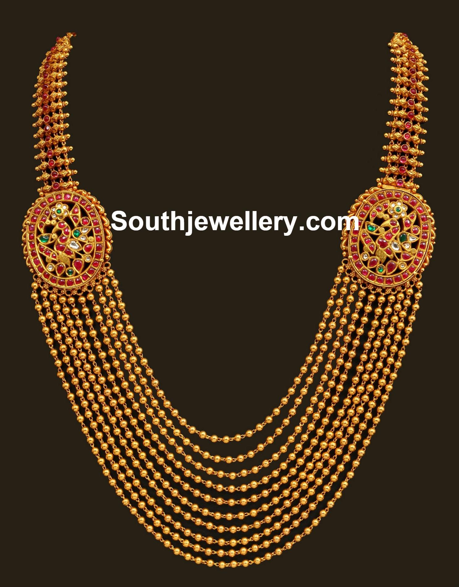 Suhasini in gundla haram jewellery designs - Gorgeous 10 Line Chandraharam