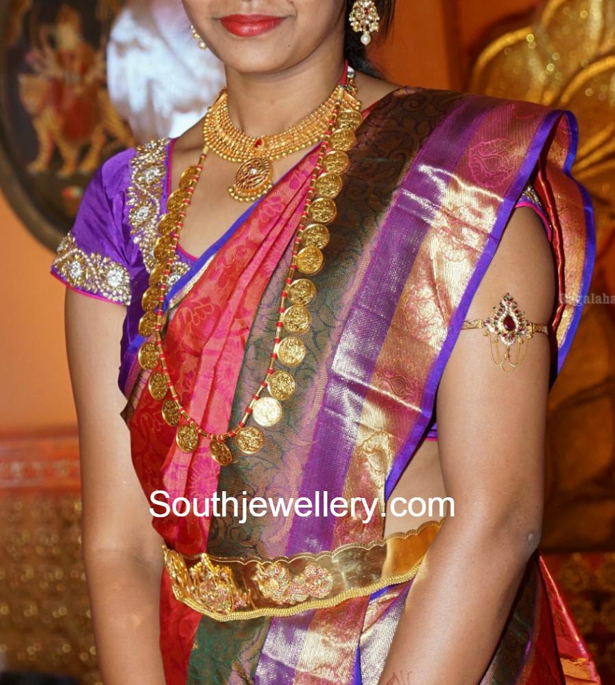 Suhasini in gundla haram jewellery designs - Traditional Kasulaperu Haram Traditional Kasulaperu Haram