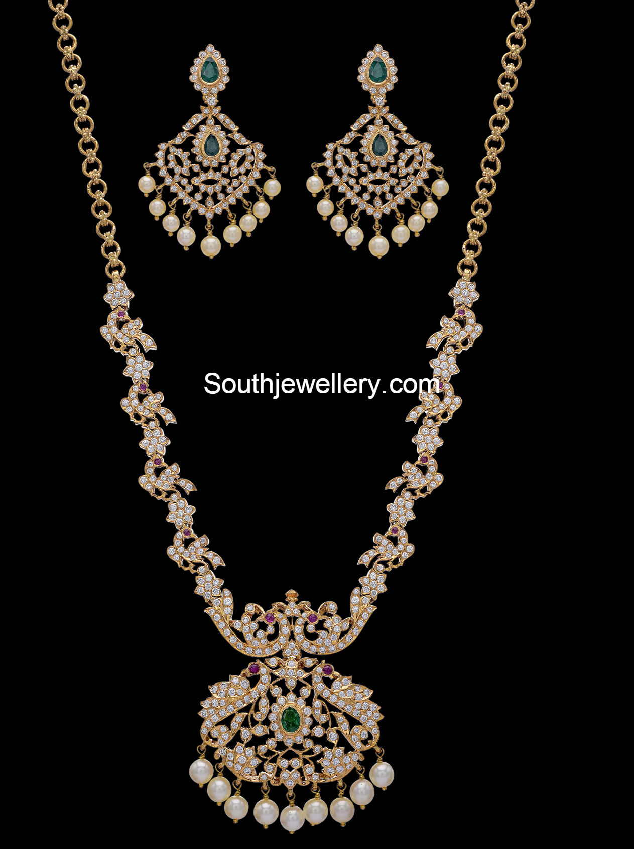 Peacock Diamond Haram Set Jewellery Designs