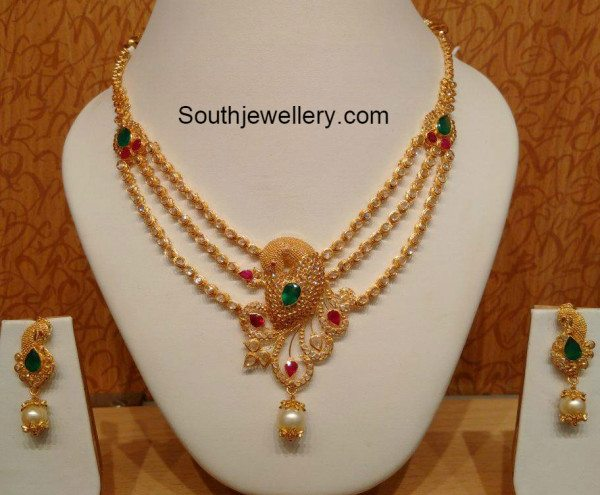 Peacock Pachi Necklace Jewellery Designs