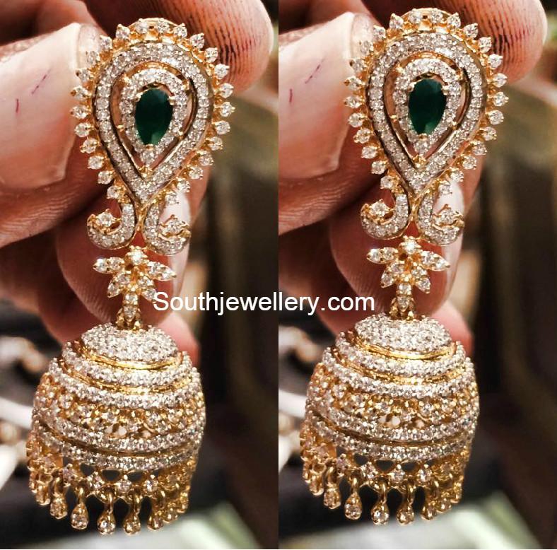 21 Grams Diamond Jhumkas Jewellery Designs
