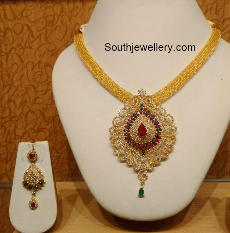 Gold Chain with CZ Pendant - Jewellery Designs