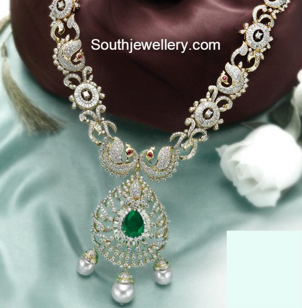Peacock Diamond Necklace Jewellery Designs