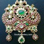 Ruby Peacock Pendant