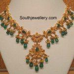 Uncut Diamond Emerald Necklace