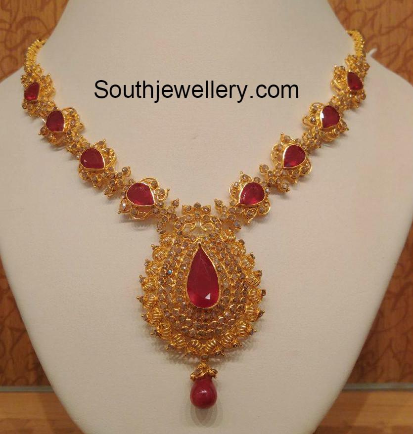 ruby uncut diamond necklace jewellery designs