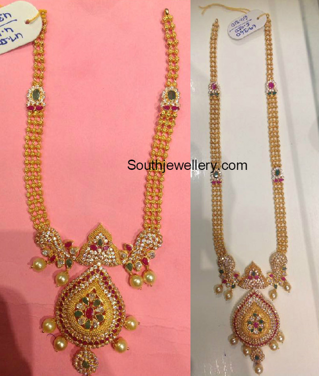 Antique Gold Necklace and Haram Set - Jewellery Designs