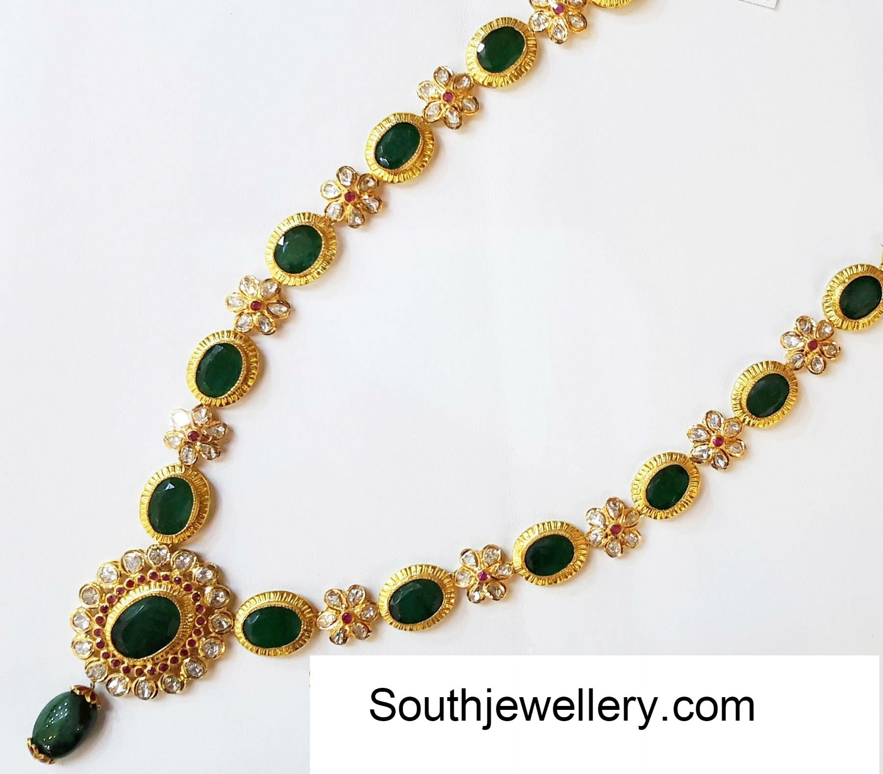 Floral emerald uncut necklace jewellery designs for Designs com