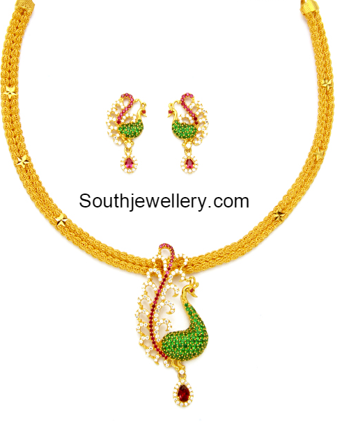 Cz pendant latest jewelry designs jewellery designs gold chain with cz peacock pendant mozeypictures Gallery