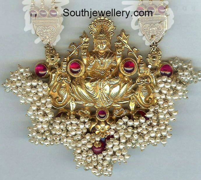 Lakshmi pearls pendant jewellery designs aloadofball Image collections