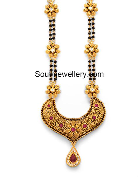Diamond kasulaperu with pendant - Black Beads Mangalsutra With Gold Pendant Latest Jewelry