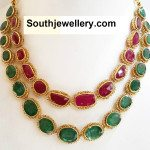 Ruby Emerald Step Necklace