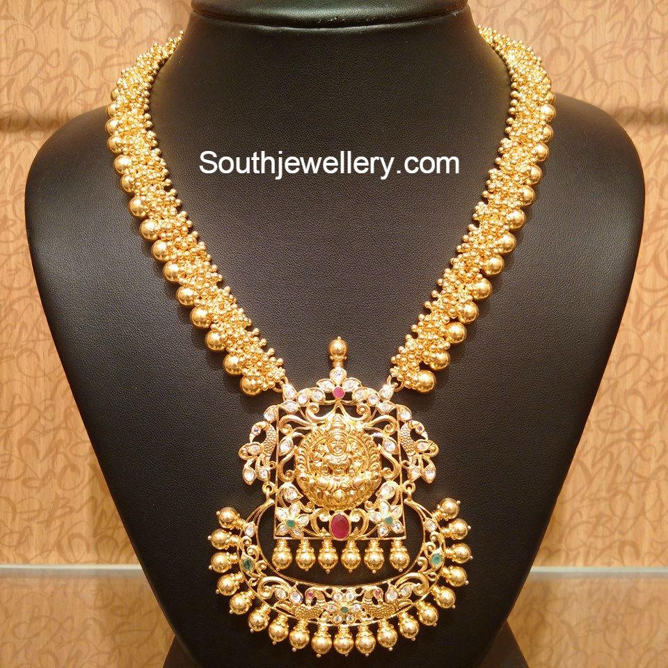 Diamond kasulaperu with pendant - Antique Gold Necklace With Lakshmi Pendant Jewellery Designs