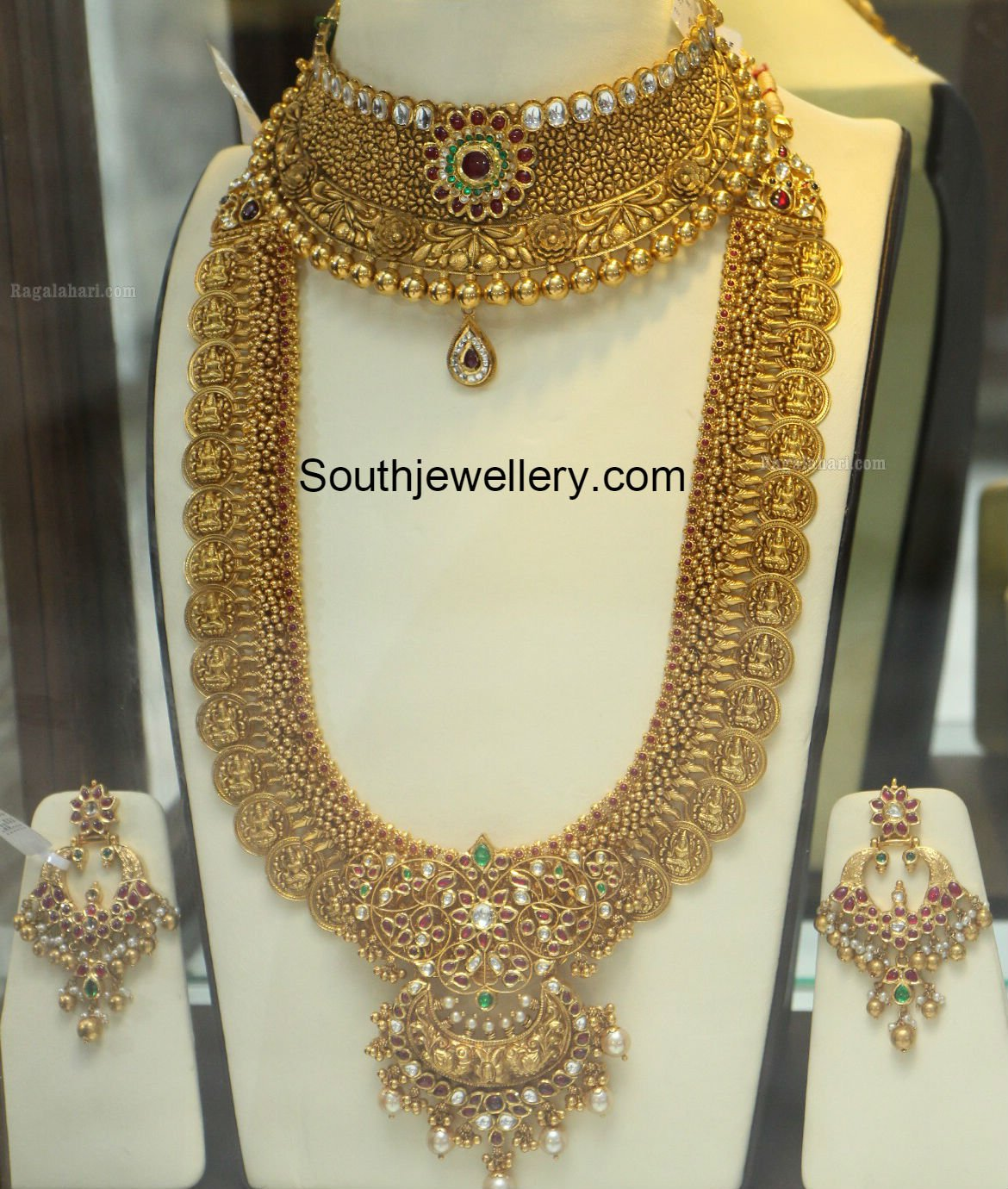 Gold long necklace design with price - Antique Gold Choker And Lakshmi Kasu Haram