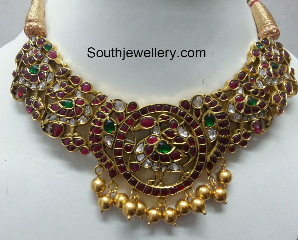 pendant ruby necklace with emerald set antique chand jhumkas