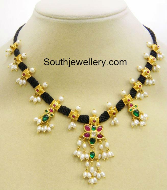 30 Grams Black Dori Guttapusalu Necklace Jewellery Designs