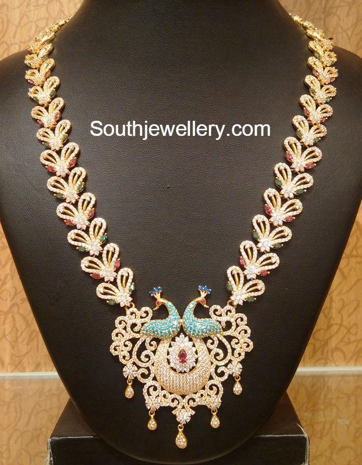 Cz Stones Peacock Haram Jewellery Designs