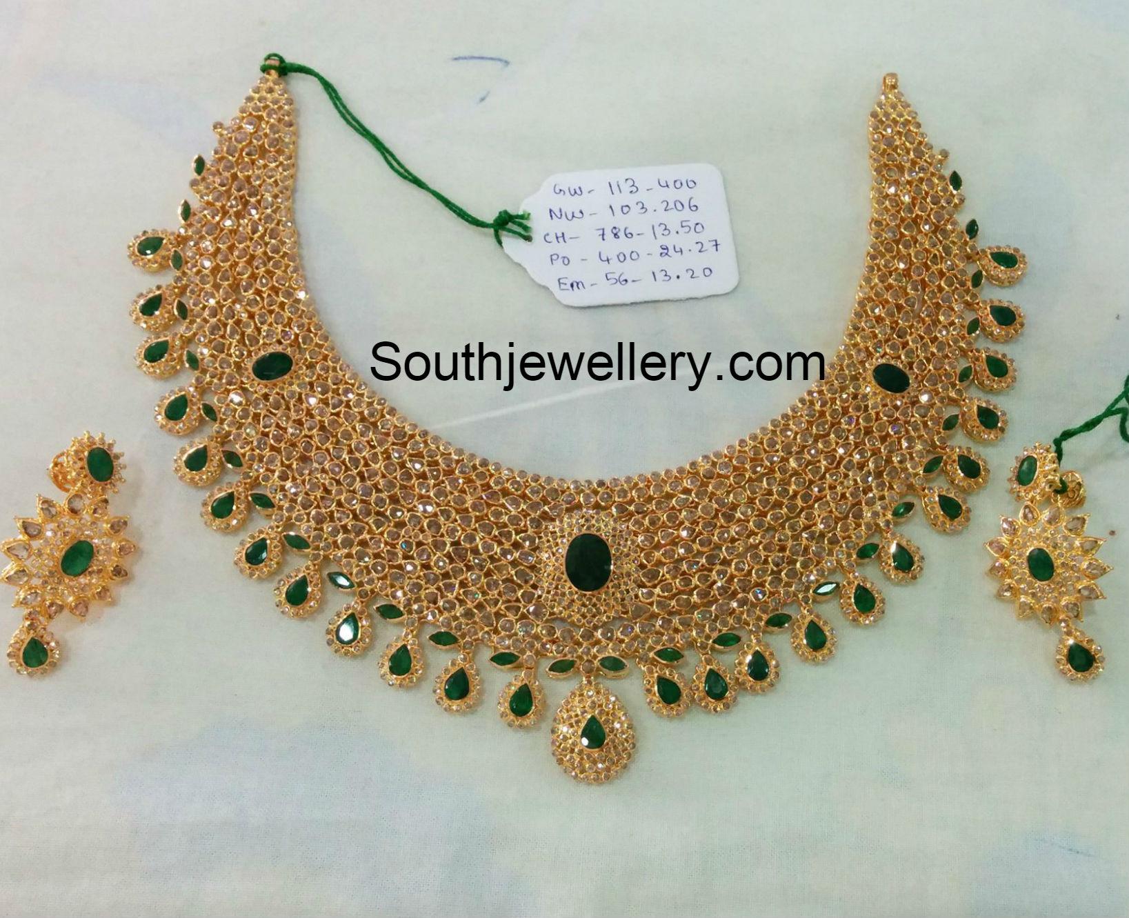 Uncut Diamond Necklace Set Jewellery Designs