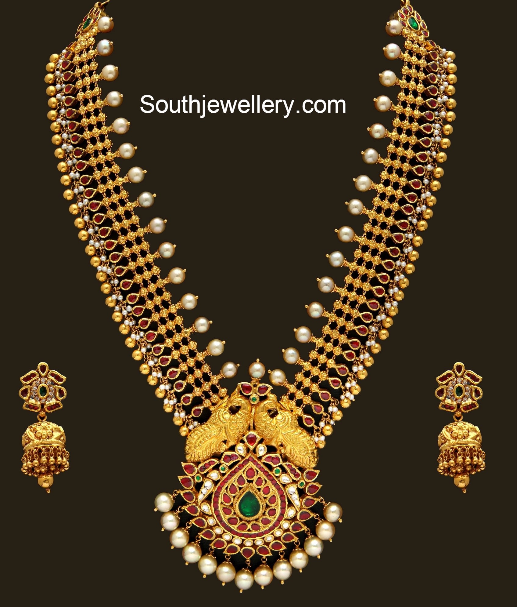 Antique Gold Haram set - Jewellery Designs