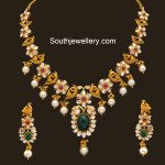 Flat Diamond Peacock Necklace Set