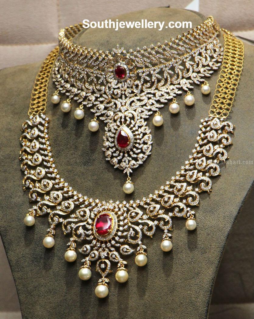 Diamond Choker and Necklace