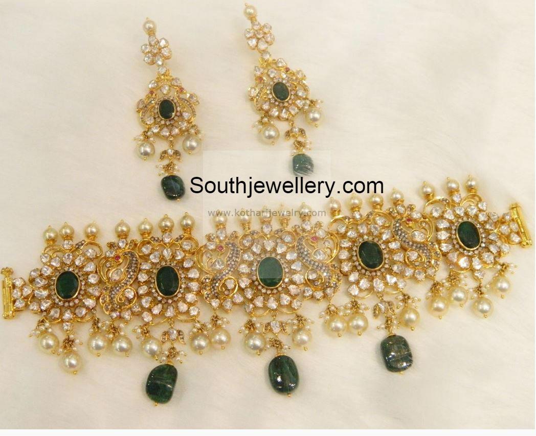 22 carat gold peacock and floral design polki diamond choker and