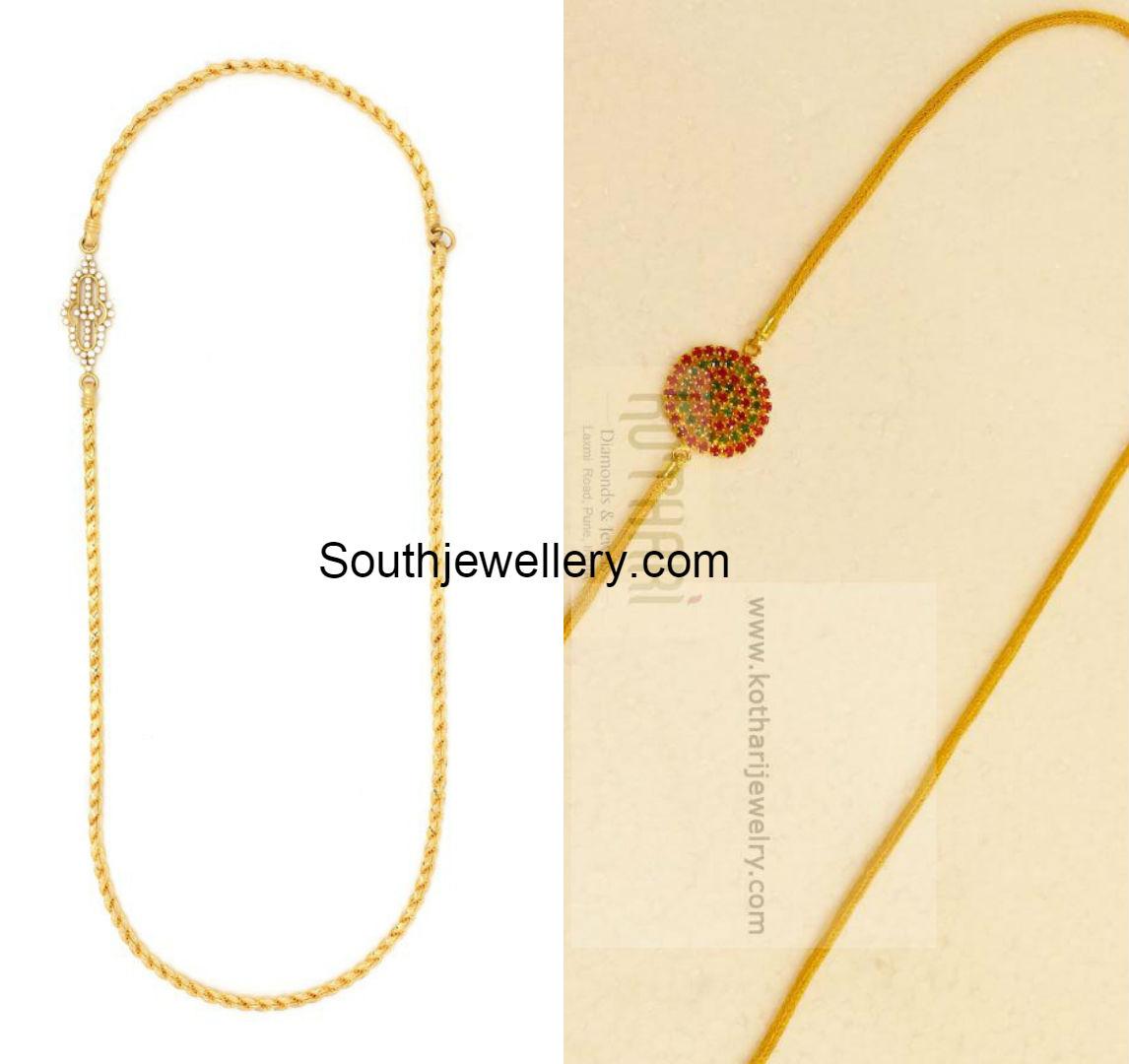 Thali Chain Models with Mugappu - Jewellery Designs