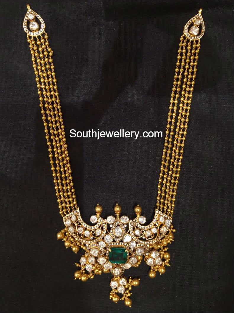 Antique Gold Long Chain With Pacchi Pendant Jewellery