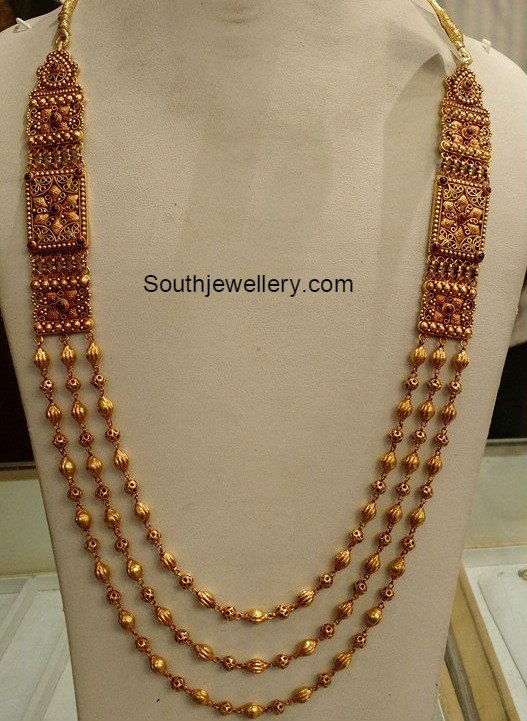 antique gold long chain jewellery designs
