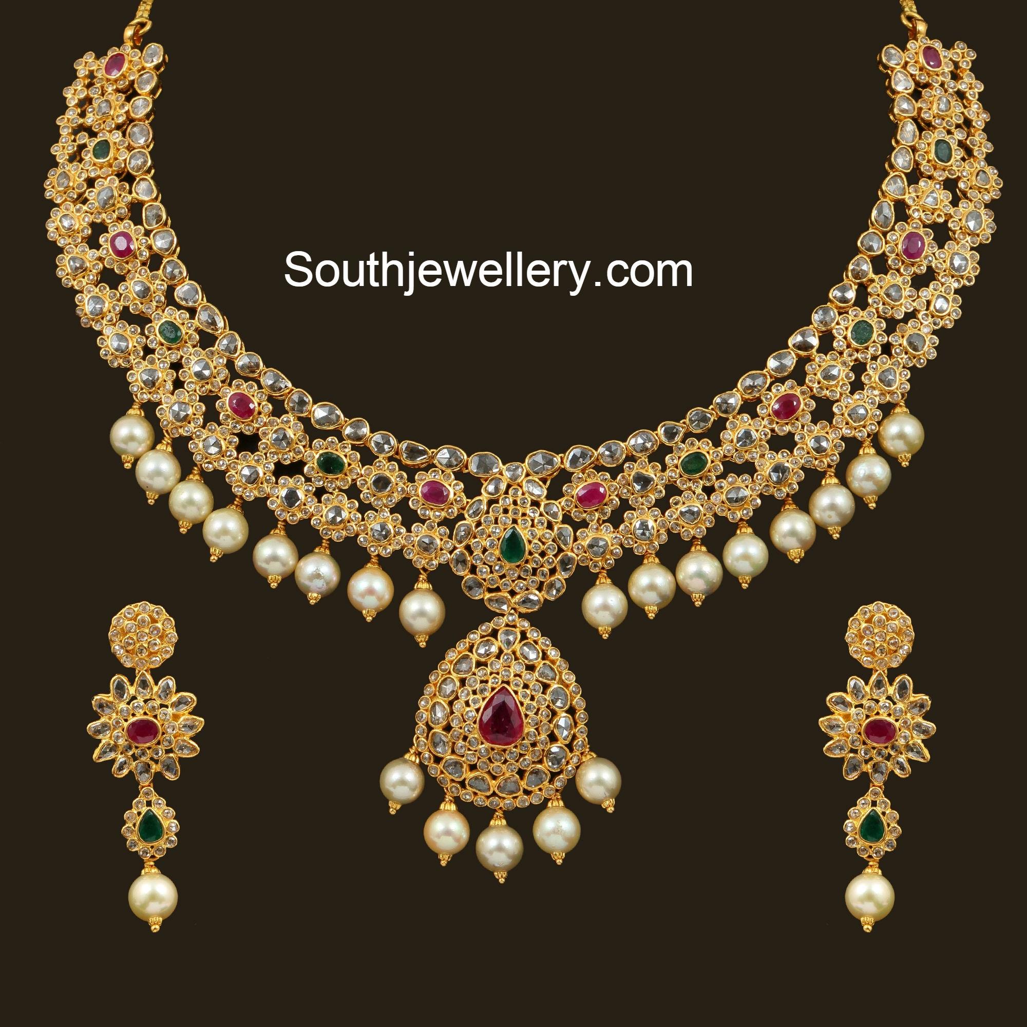 floral uncut diamond necklace jewellery designs