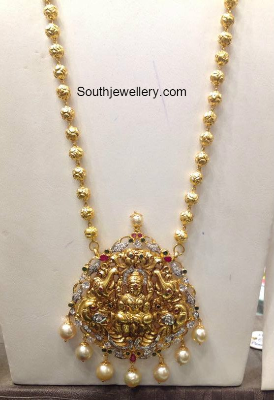 Gold Long Chain With Lakshmi Pendant Jewellery Designs
