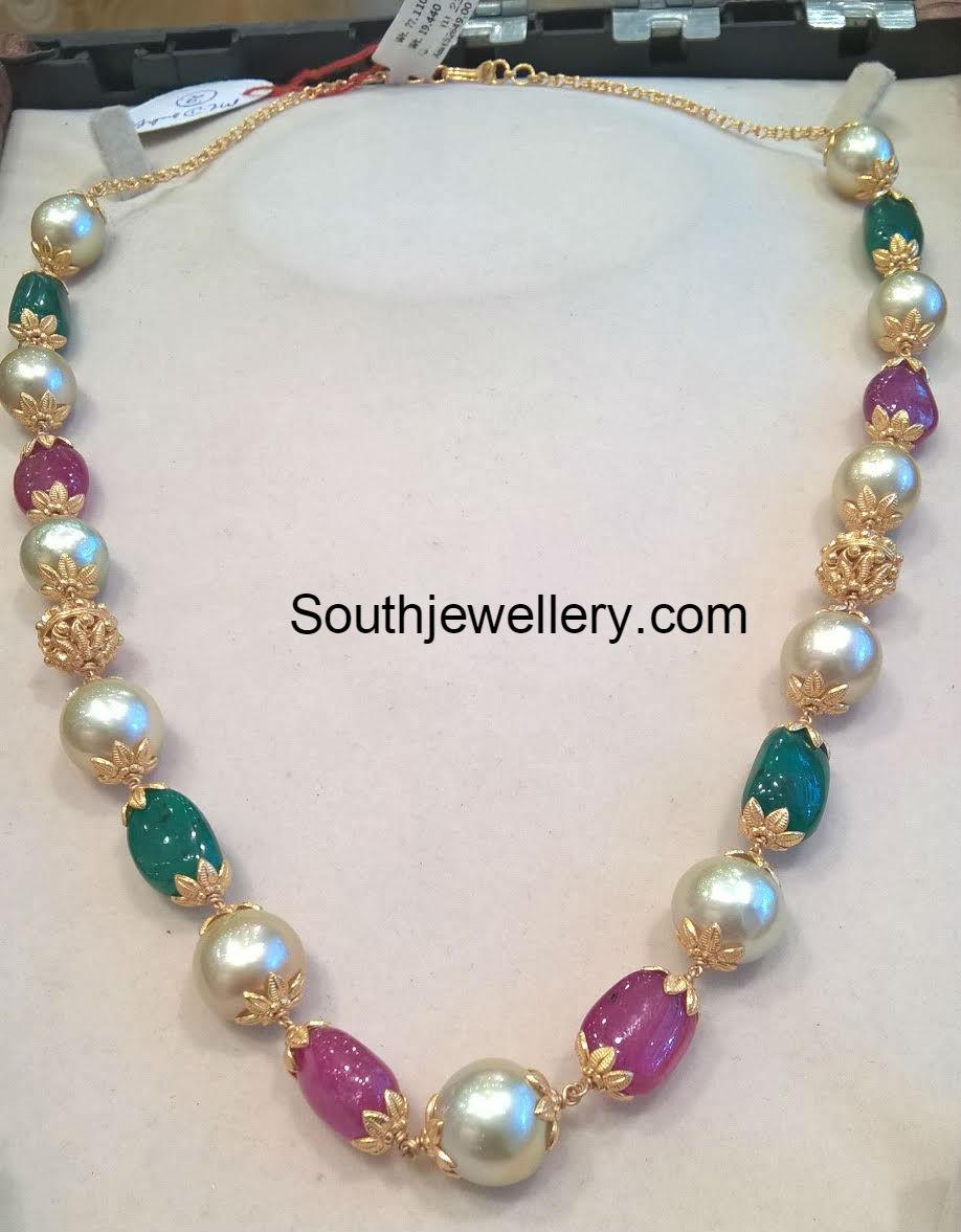pearl and beads mala jewellery designs