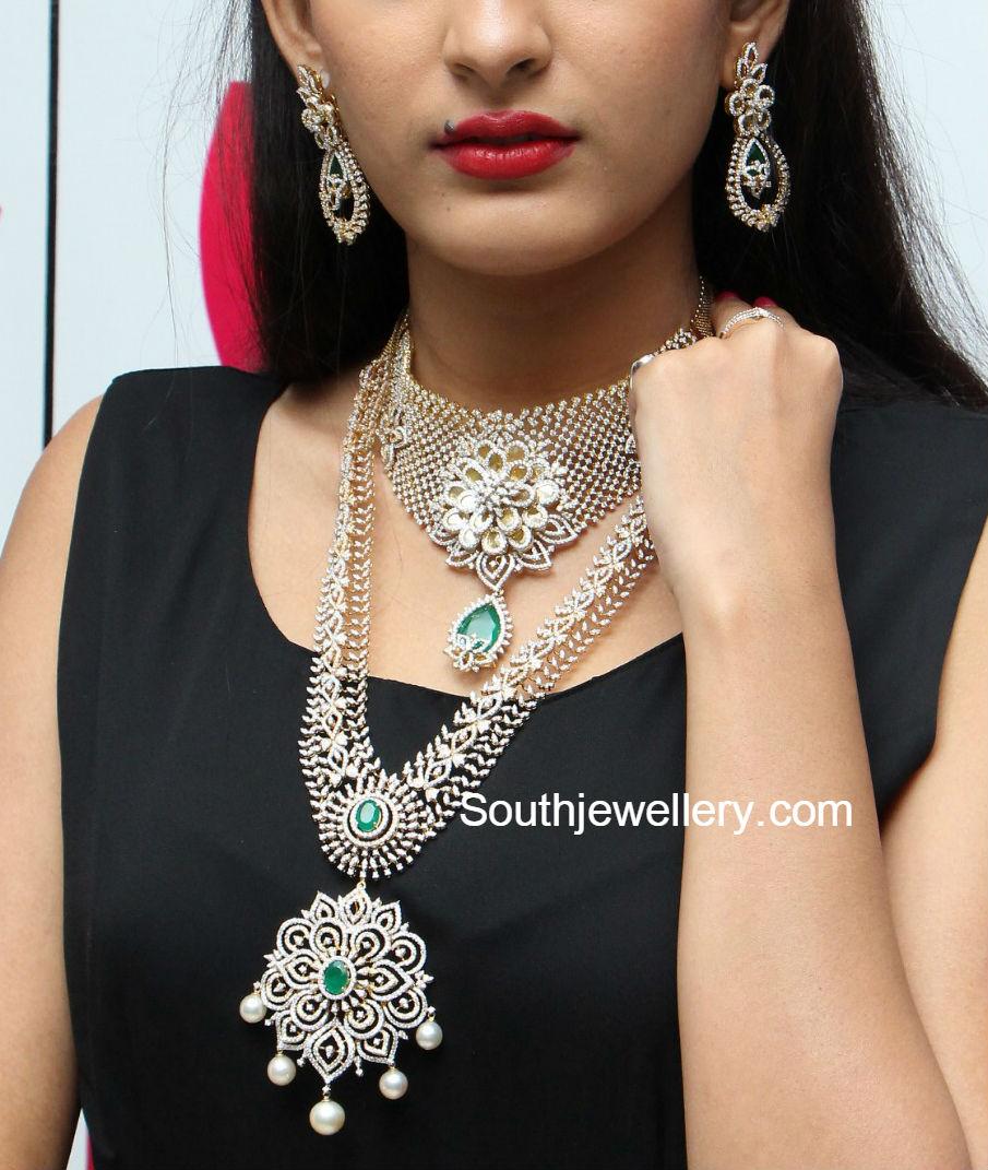 Bridal Diamond Necklace And Haram Set