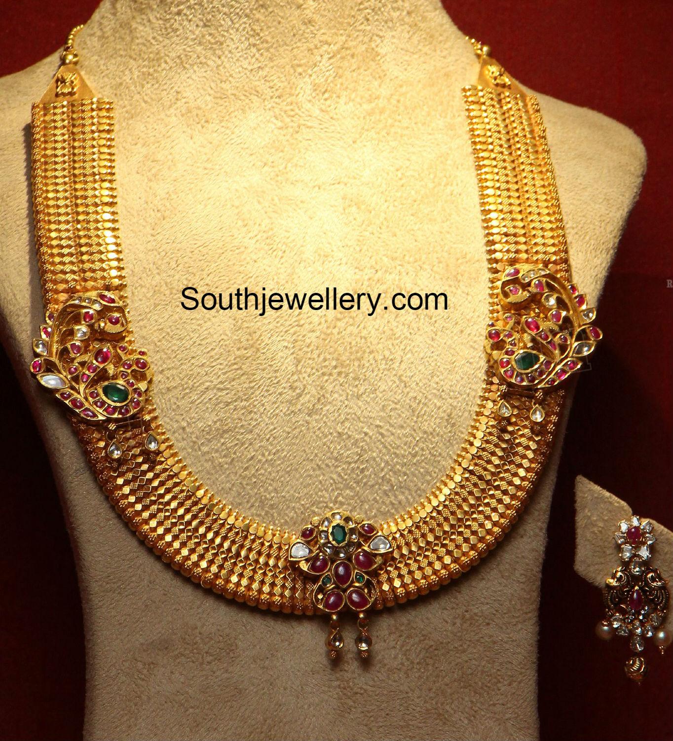 Suhasini in gundla haram jewellery designs - Gold Long Chain With Peacock Motifs