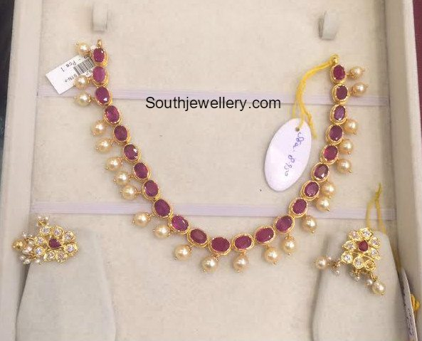 Light Weight Ruby South Sea Pearl Necklace Jewellery Designs