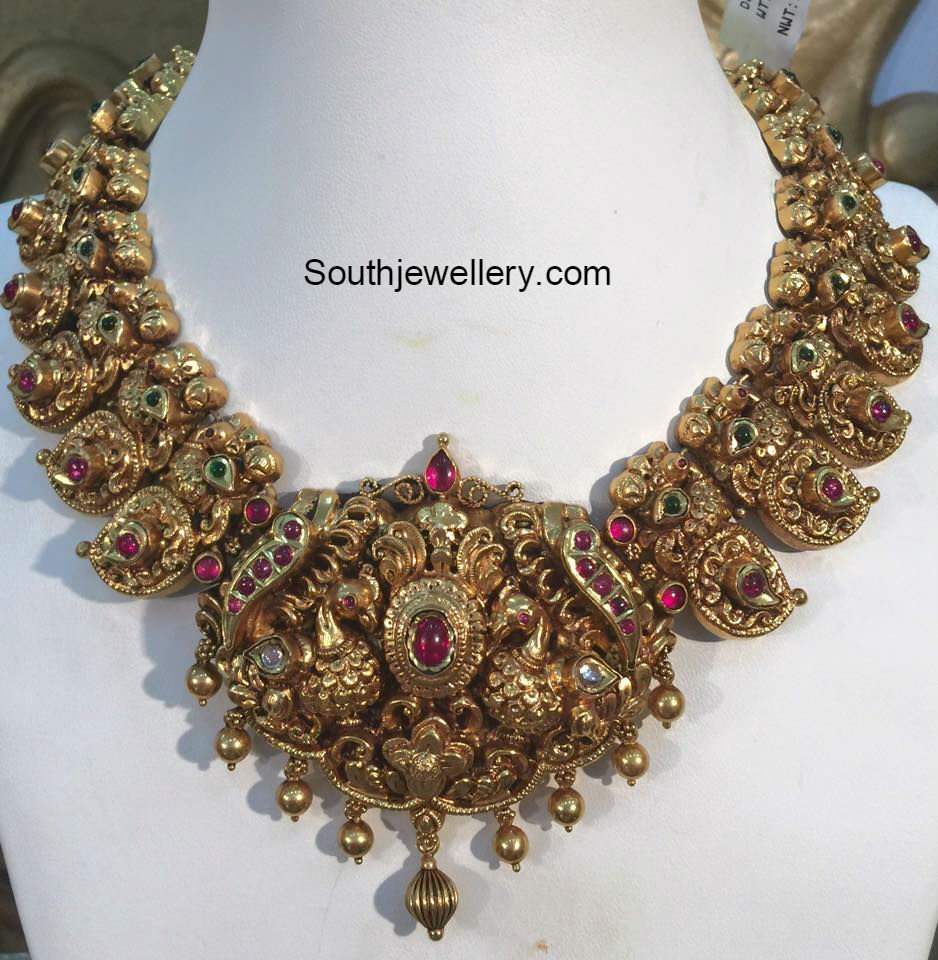 Antique Peacock Mango Necklace Jewellery Designs