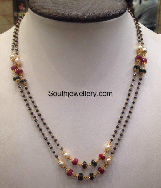 Black Diamond Mangalsutra Chain Jewellery Designs