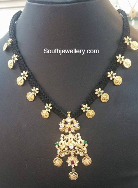 Black Thread Kasu Necklace Jewellery Designs