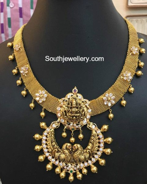 Antique Gold Mesh Necklace With Nakshi Pendant Jewellery