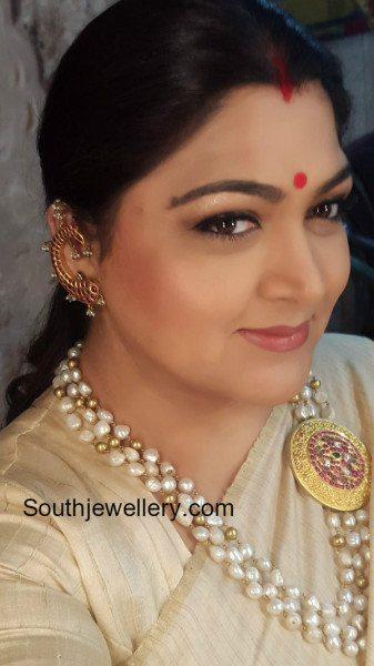Khushbu Sundar In Pearls Mala Jewellery Designs