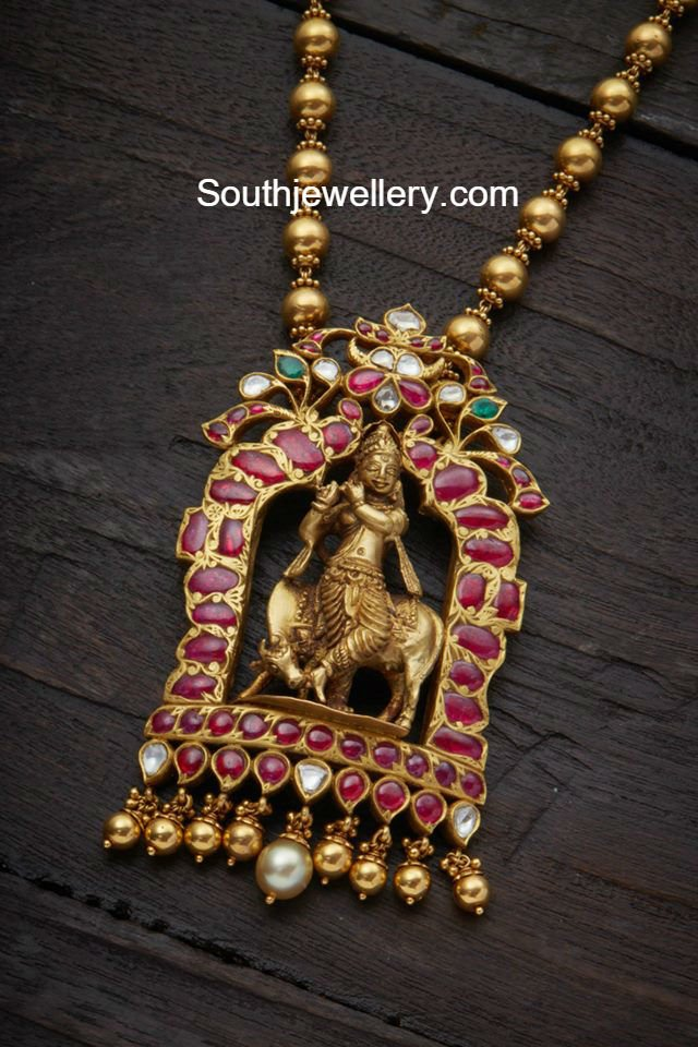 Gold Balls Chain With Lord Krishna Pendant Jewellery Designs