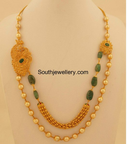 uncut diamond south sea pearls mala